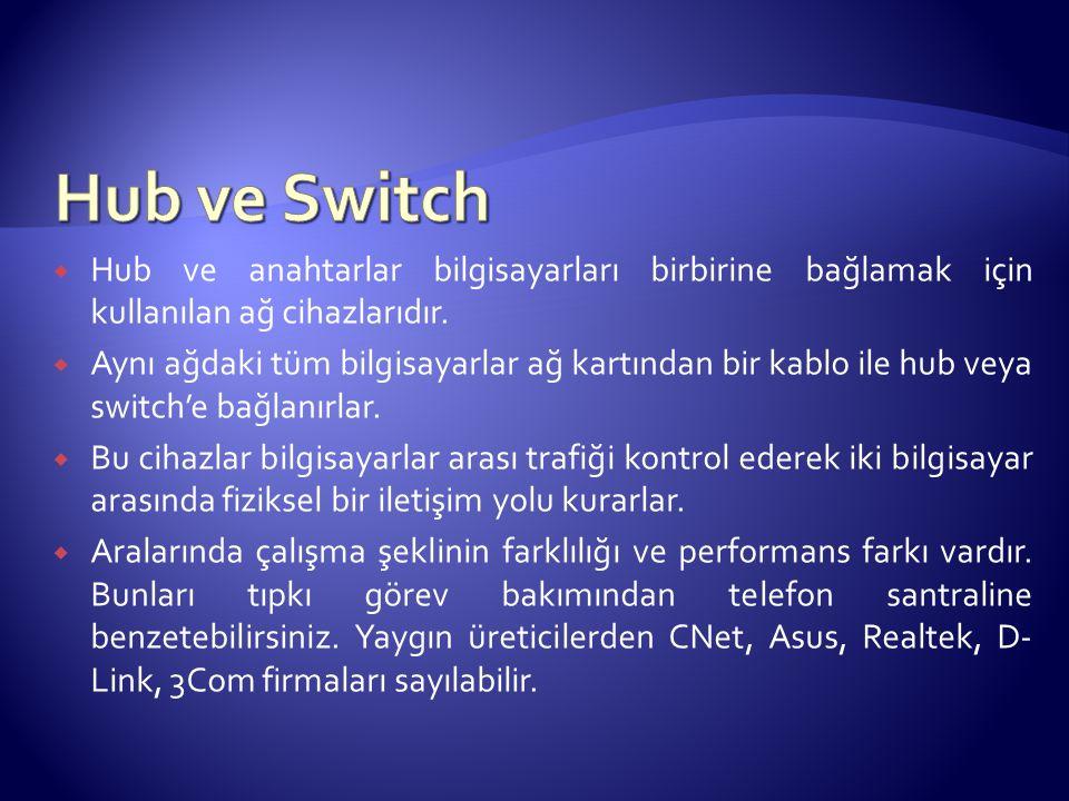 Hub ve Switch Hub ve anahtarlar bilgisayarları birbirine bağlamak için kullanılan ağ cihazlarıdır.