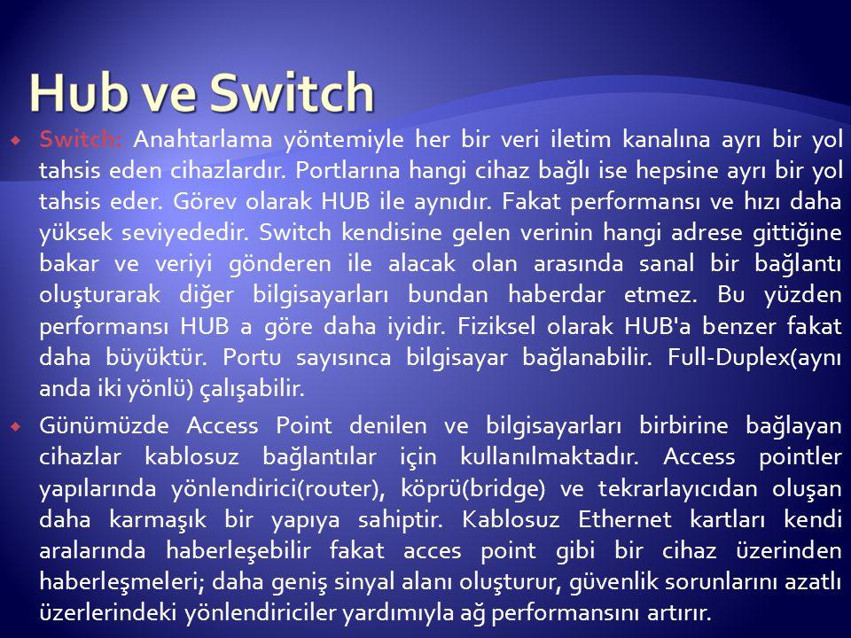 Switch: Anahtarlama yöntemiyle her bir veri iletim kanalına ayrı bir yol tahsis eden cihazlardır. Portlarına hangi cihaz bağlı ise hepsine ayrı bir yol tahsis eder. Görev olarak HUB ile aynıdır. Fakat performansı ve hızı daha yüksek seviyededir. Switch kendisine gelen verinin hangi adrese gittiğine bakar ve veriyi gönderen ile alacak olan arasında sanal bir bağlantı oluşturarak diğer bilgisayarları bundan haberdar etmez. Bu yüzden performansı HUB a göre daha iyidir. Fiziksel olarak HUB a benzer fakat daha büyüktür. Portu sayısınca bilgisayar bağlanabilir. Full-Duplex(aynı anda iki yönlü) çalışabilir.