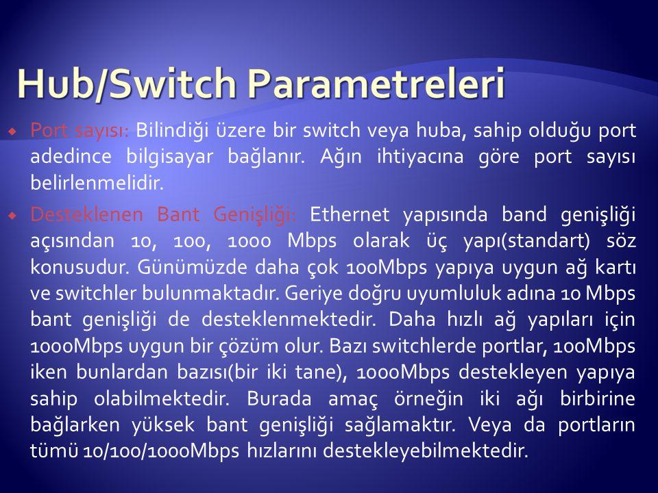 Port sayısı: Bilindiği üzere bir switch veya huba, sahip olduğu port adedince bilgisayar bağlanır. Ağın ihtiyacına göre port sayısı belirlenmelidir.