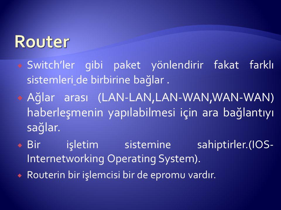 Router Switch'ler gibi paket yönlendirir fakat farklı sistemleri de birbirine bağlar .