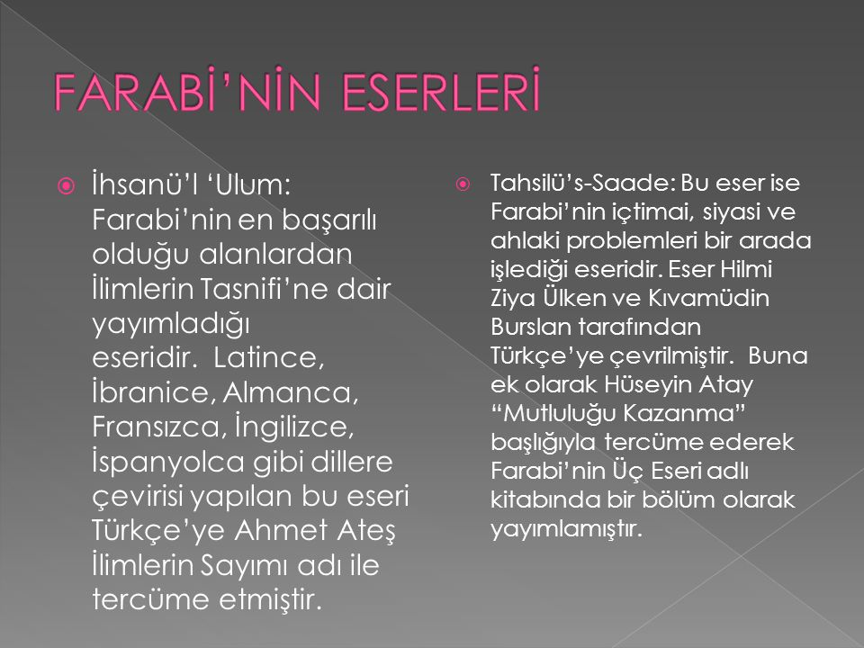 FARABİ'NİN ESERLERİ