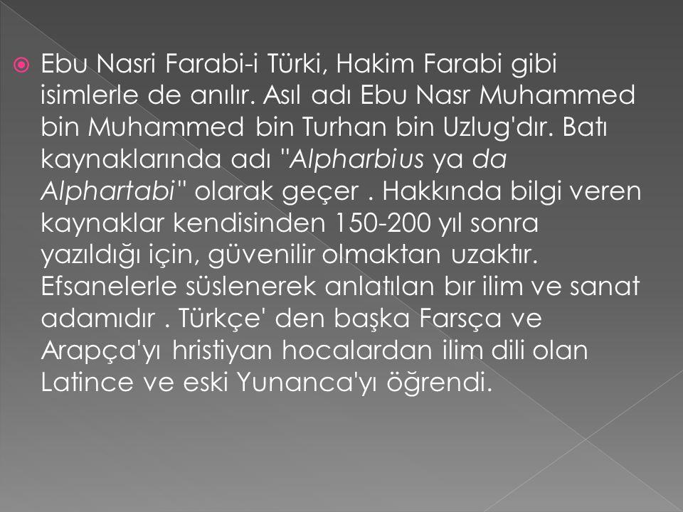 Ebu Nasri Farabi-i Türki, Hakim Farabi gibi isimlerle de anılır