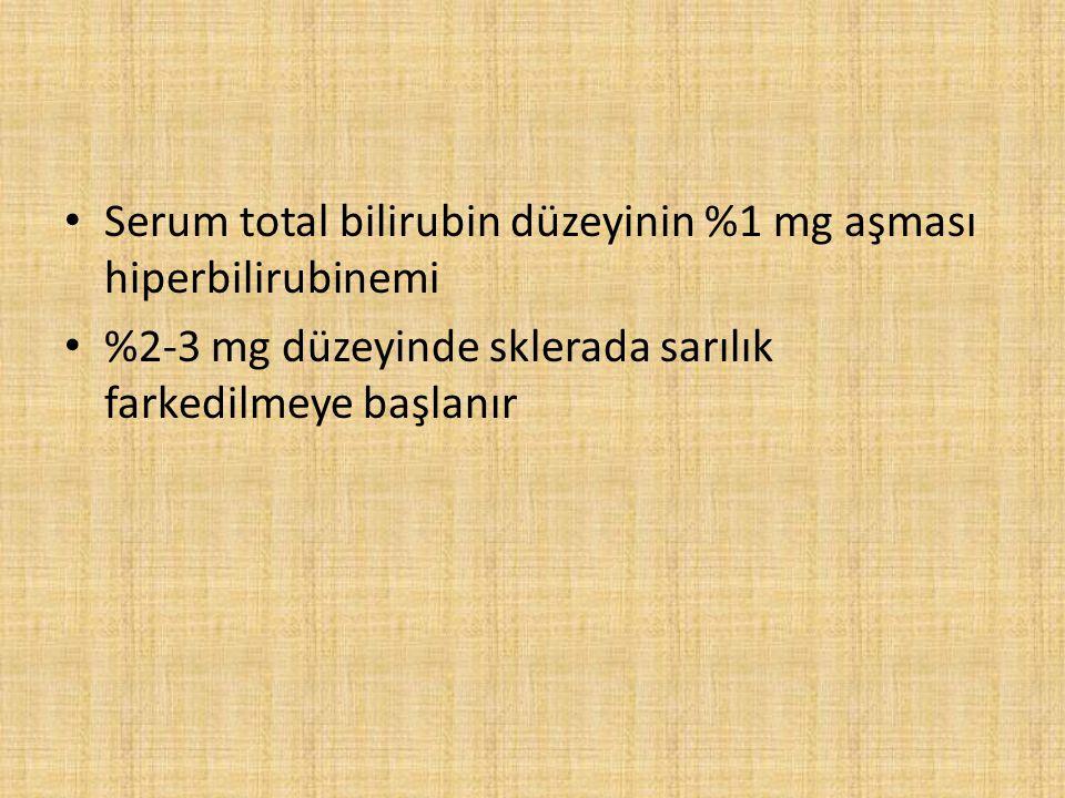 Serum total bilirubin düzeyinin %1 mg aşması hiperbilirubinemi