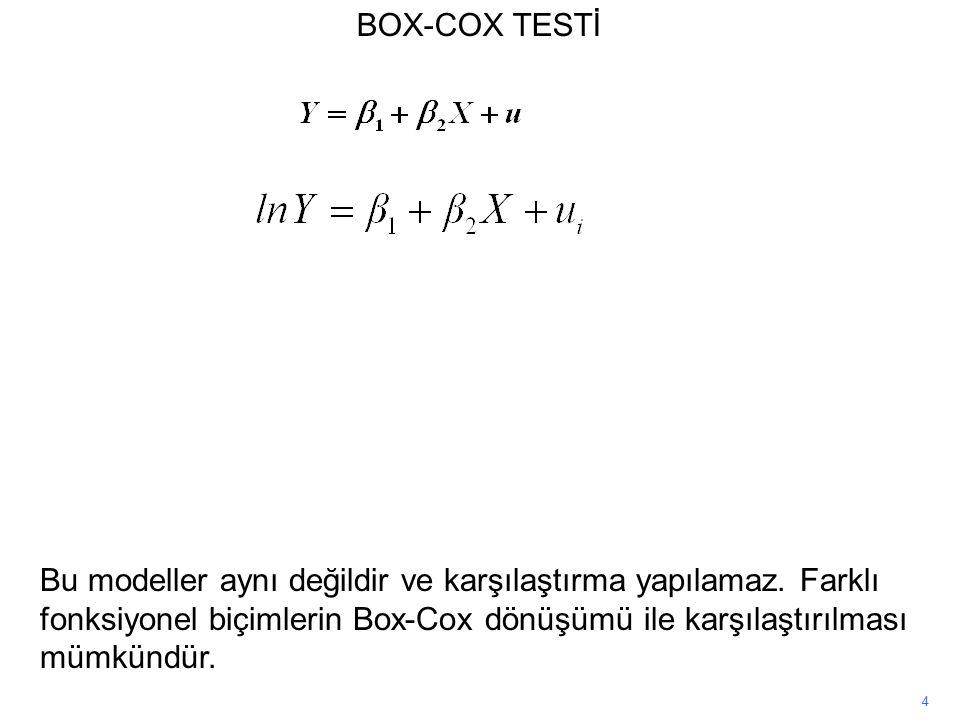 BOX-COX TESTİ Bu modeller aynı değildir ve karşılaştırma yapılamaz. Farklı fonksiyonel biçimlerin Box-Cox dönüşümü ile karşılaştırılması mümkündür.