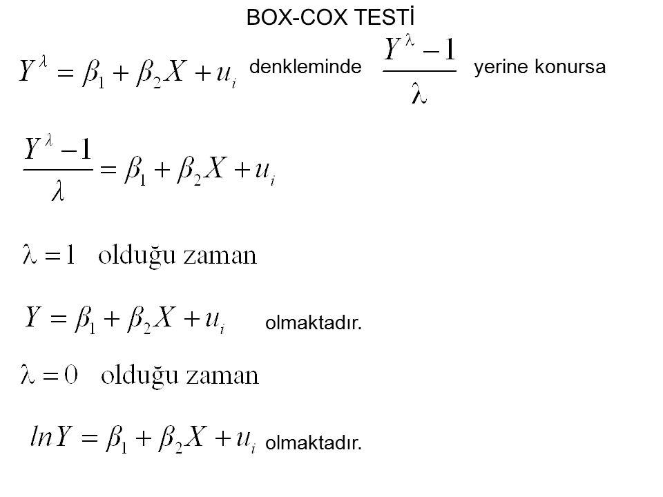 BOX-COX TESTİ denkleminde yerine konursa olmaktadır. olmaktadır.