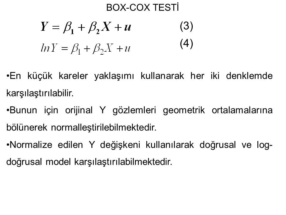 BOX-COX TESTİ (3) (4) En küçük kareler yaklaşımı kullanarak her iki denklemde karşılaştırılabilir.