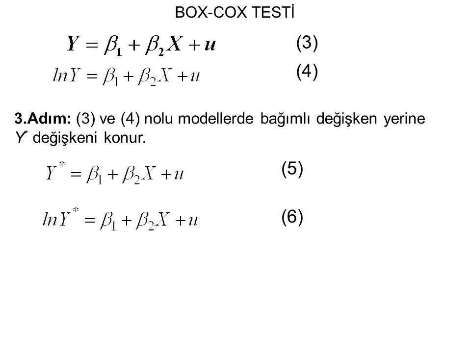 (3) (4) (5) (6) BOX-COX TESTİ
