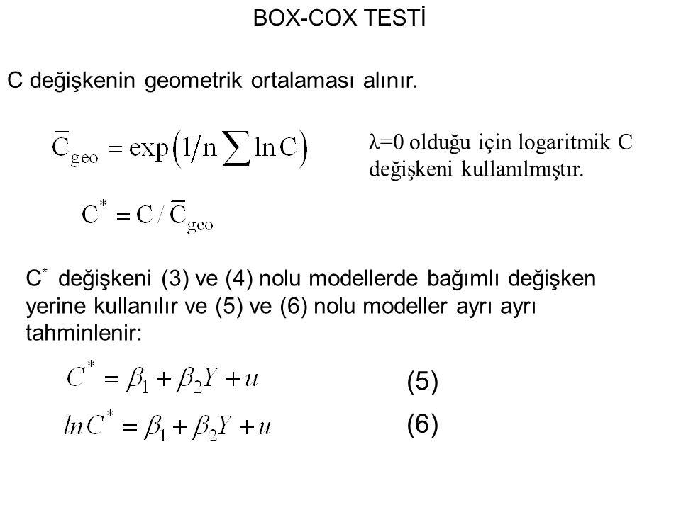 (5) (6) BOX-COX TESTİ C değişkenin geometrik ortalaması alınır.