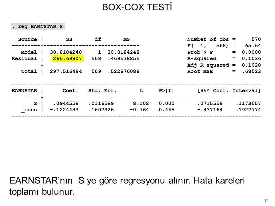 BOX-COX TESTİ . reg EARNSTAR S. Source | SS df MS Number of obs = 570.