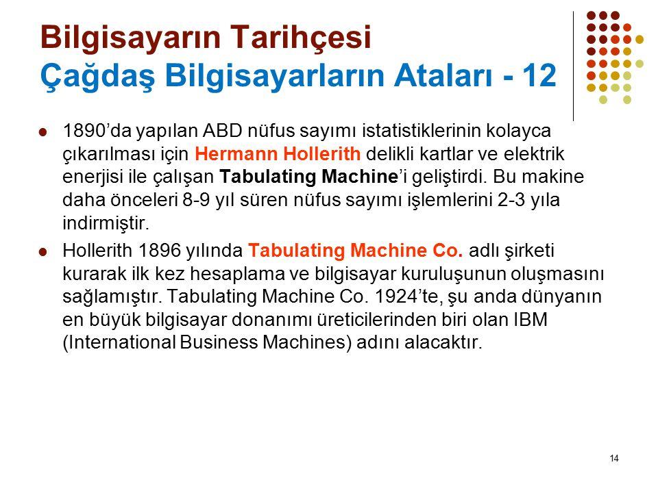 Bilgisayarın Tarihçesi Çağdaş Bilgisayarların Ataları - 12