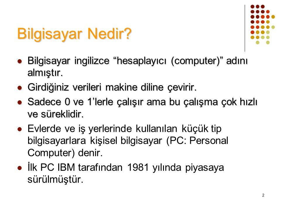 Bilgisayar Nedir Bilgisayar ingilizce hesaplayıcı (computer) adını almıştır. Girdiğiniz verileri makine diline çevirir.
