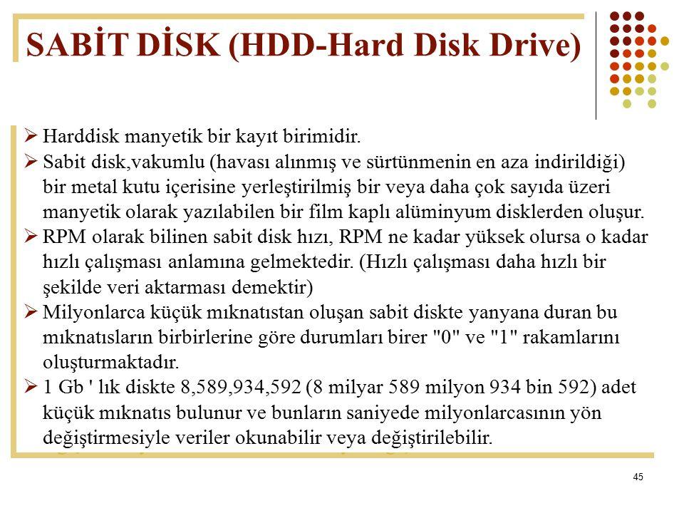 SABİT DİSK (HDD-Hard Disk Drive)