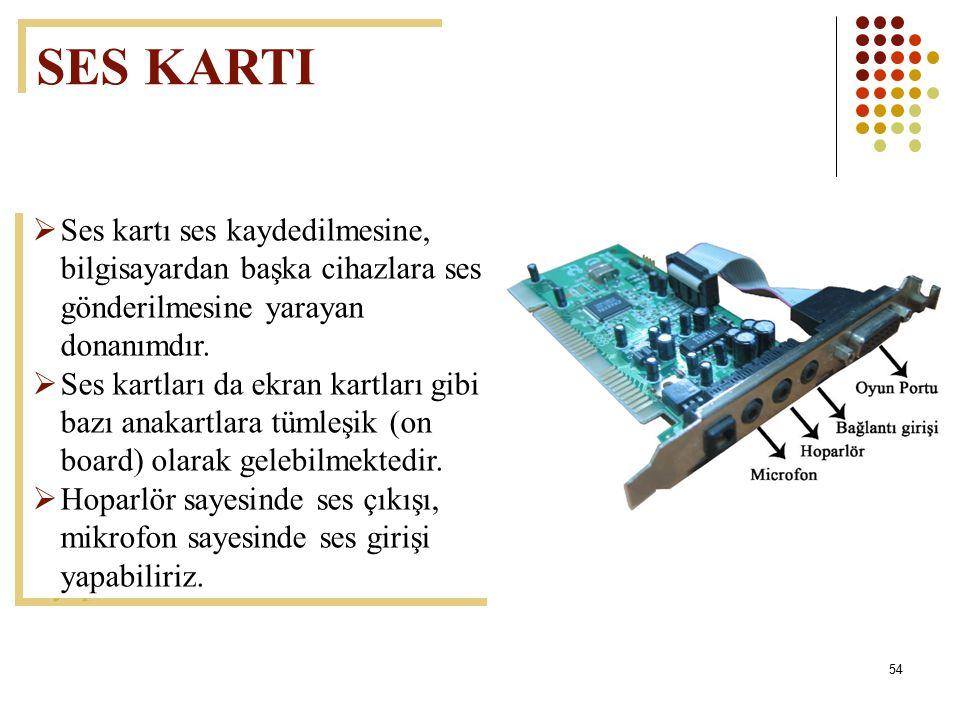 SES KARTI Ses kartı ses kaydedilmesine, bilgisayardan başka cihazlara ses gönderilmesine yarayan donanımdır.