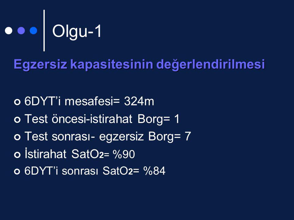Olgu-1 Egzersiz kapasitesinin değerlendirilmesi 6DYT'i mesafesi= 324m
