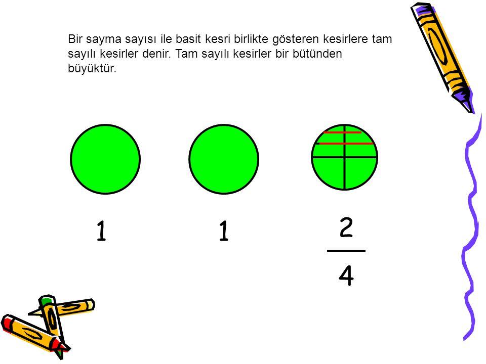 Bir sayma sayısı ile basit kesri birlikte gösteren kesirlere tam sayılı kesirler denir. Tam sayılı kesirler bir bütünden büyüktür.