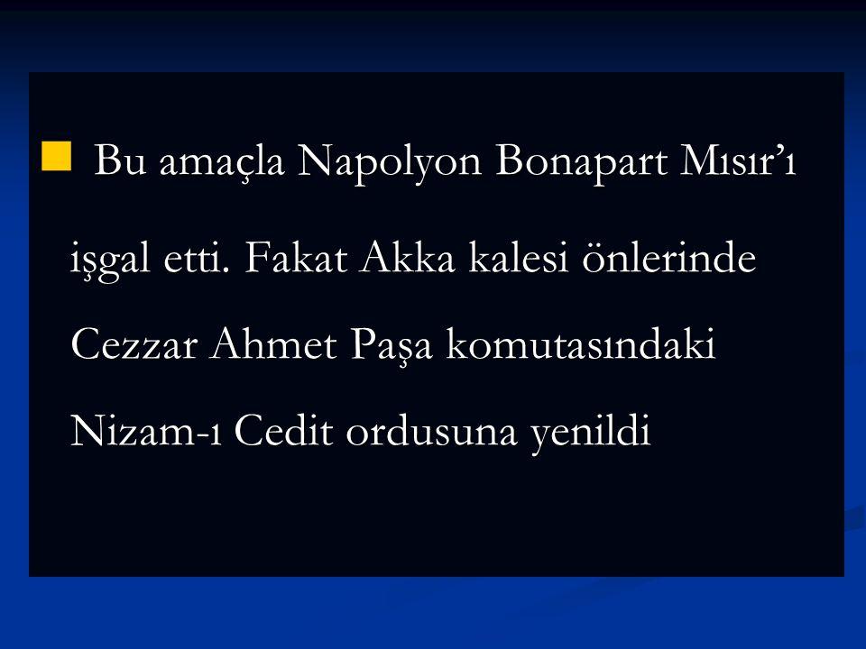 Bu amaçla Napolyon Bonapart Mısır'ı işgal etti