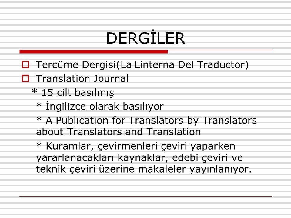 DERGİLER Tercüme Dergisi(La Linterna Del Traductor)