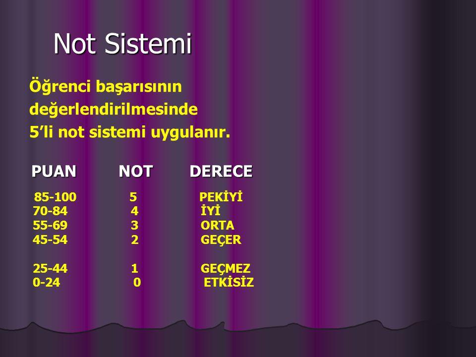 Not Sistemi Öğrenci başarısının değerlendirilmesinde 5'li not sistemi uygulanır. PUAN NOT DERECE.