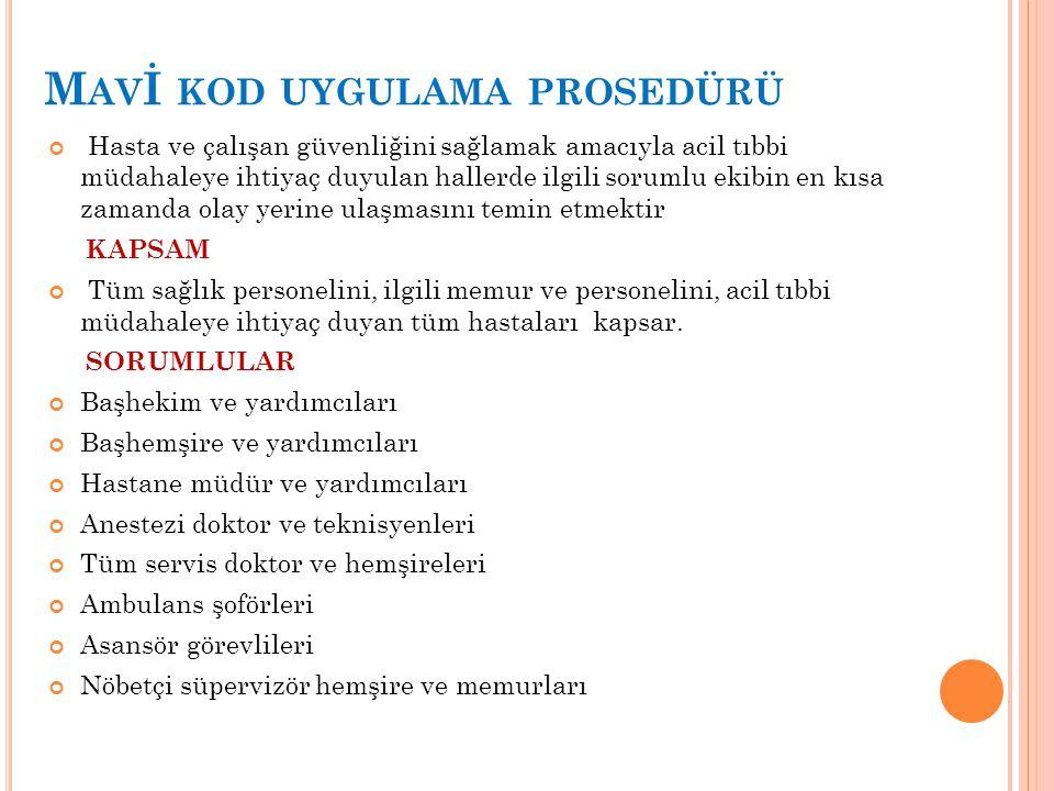Mavİ kod uygulama prosedürü