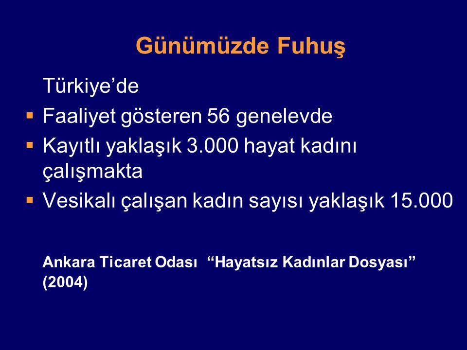 Günümüzde Fuhuş Türkiye'de Faaliyet gösteren 56 genelevde