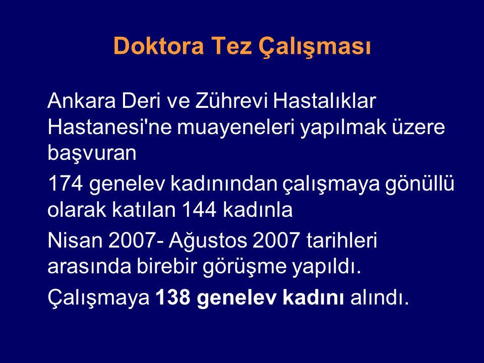 Doktora Tez Çalışması Ankara Deri ve Zührevi Hastalıklar Hastanesi ne muayeneleri yapılmak üzere başvuran.
