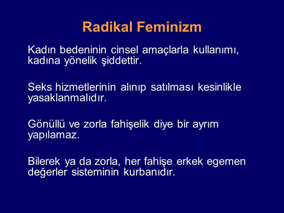 Radikal Feminizm Kadın bedeninin cinsel amaçlarla kullanımı, kadına yönelik şiddettir.