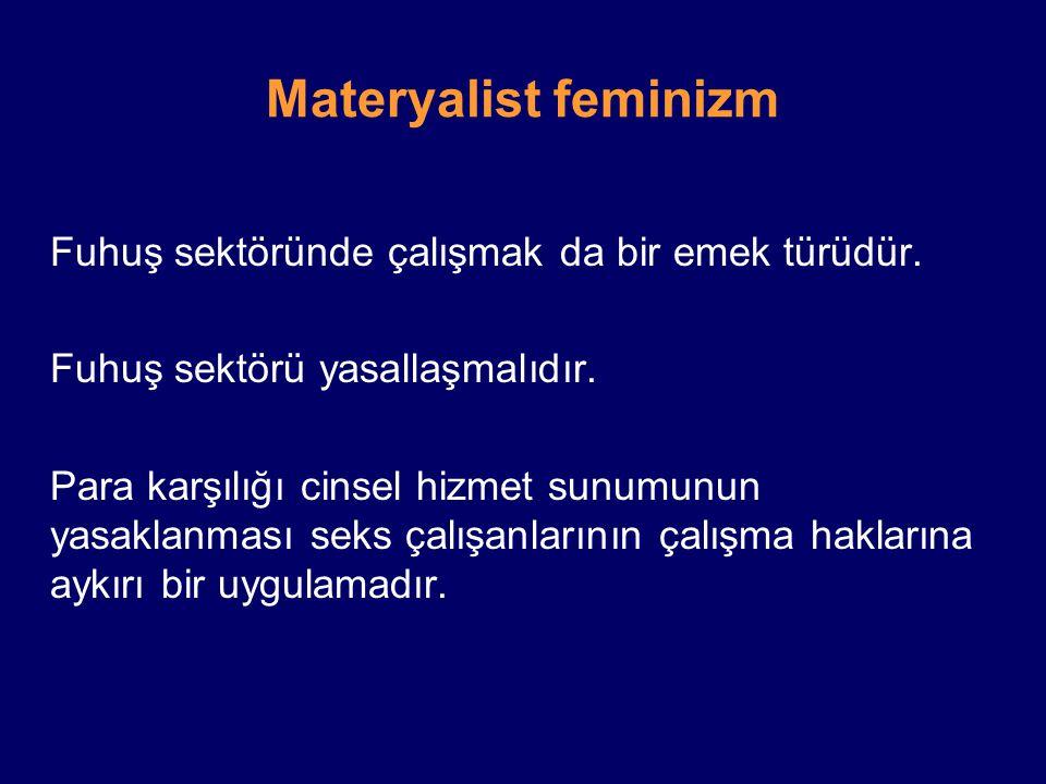 Materyalist feminizm Fuhuş sektörü yasallaşmalıdır.