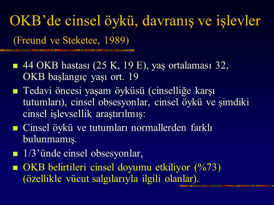 OKB'de cinsel öykü, davranış ve işlevler (Freund ve Steketee, 1989)