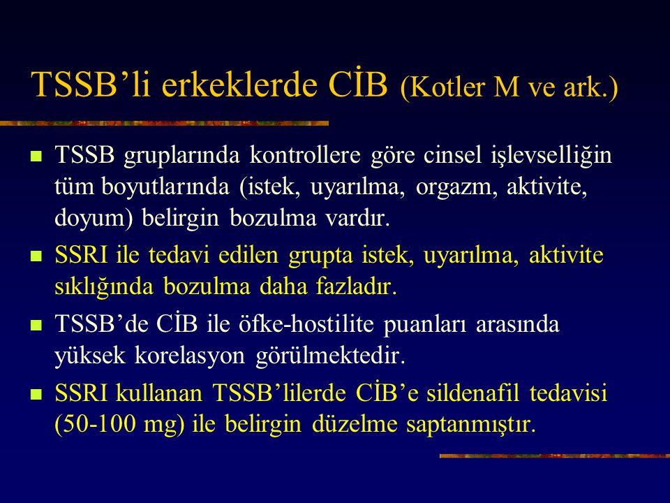 TSSB'li erkeklerde CİB (Kotler M ve ark.)