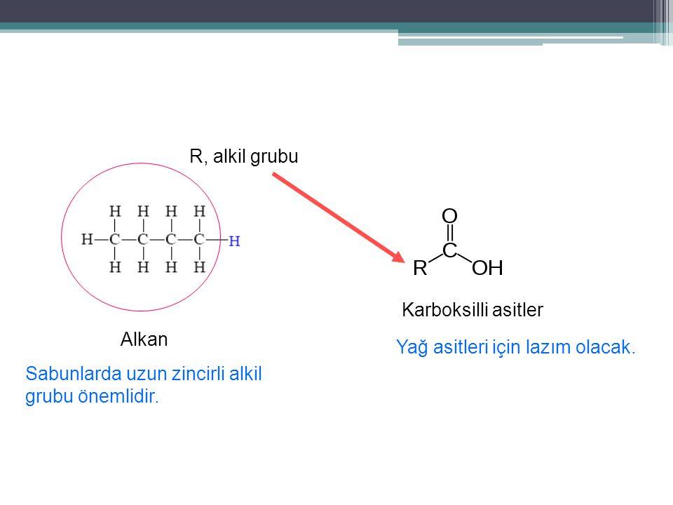 R, alkil grubu Karboksilli asitler. Alkan. Yağ asitleri için lazım olacak.