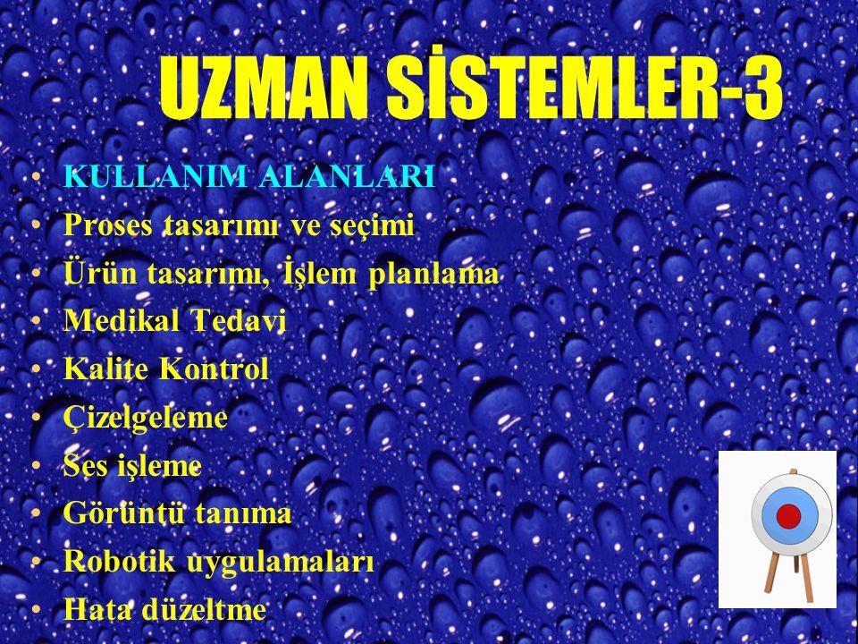 UZMAN SİSTEMLER-3 KULLANIM ALANLARI Proses tasarımı ve seçimi