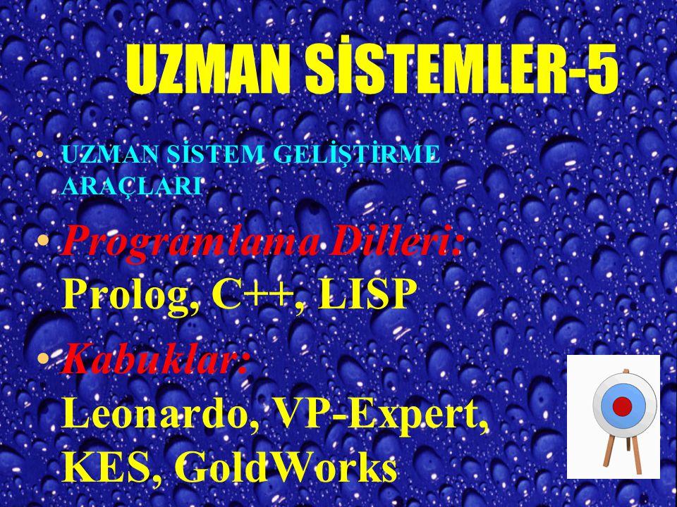 UZMAN SİSTEMLER-5 Programlama Dilleri: Prolog, C++, LISP