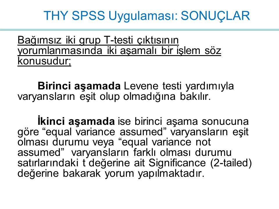 THY SPSS Uygulaması: SONUÇLAR