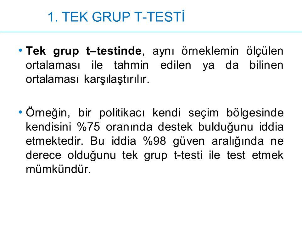 1. TEK GRUP T-TESTİ Tek grup t–testinde, aynı örneklemin ölçülen ortalaması ile tahmin edilen ya da bilinen ortalaması karşılaştırılır.