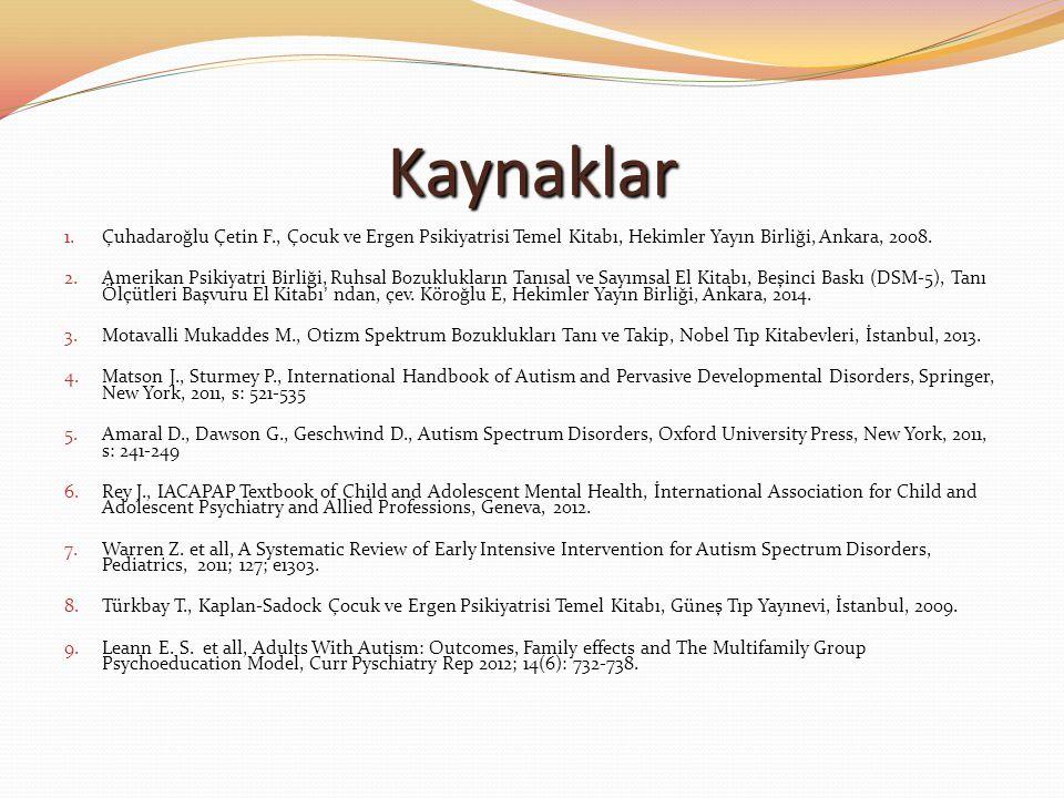 Kaynaklar Çuhadaroğlu Çetin F., Çocuk ve Ergen Psikiyatrisi Temel Kitabı, Hekimler Yayın Birliği, Ankara, 2008.