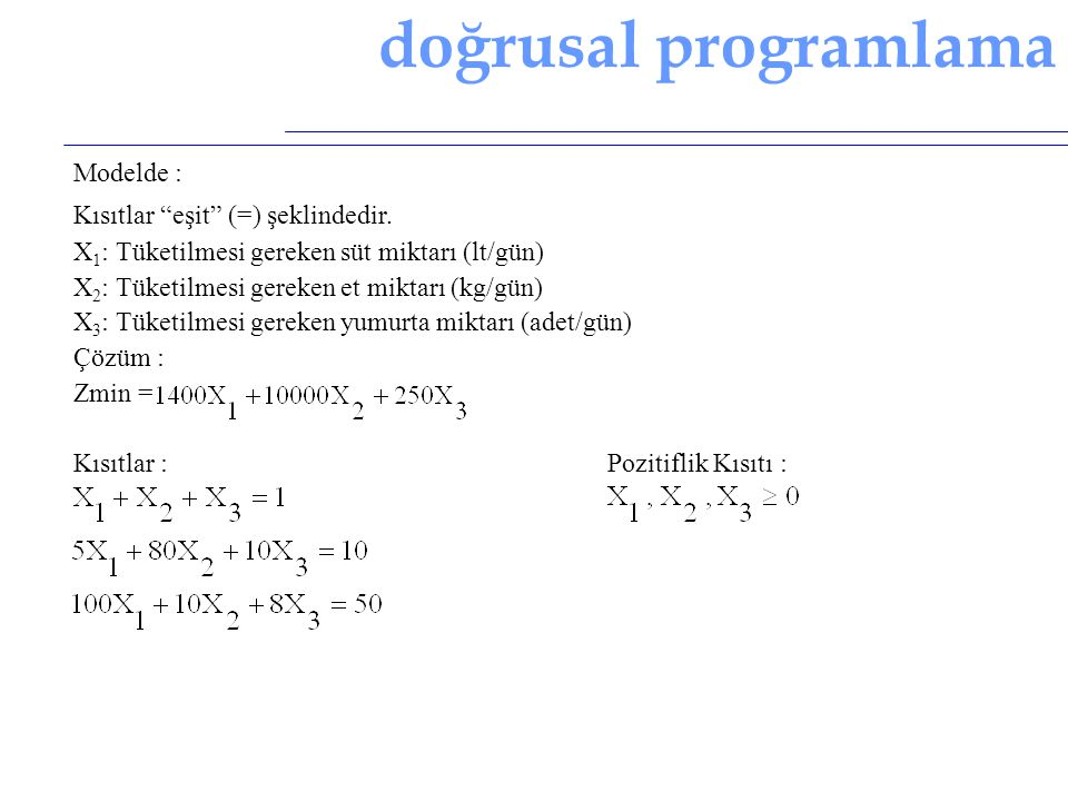 doğrusal programlama Modelde : Kısıtlar eşit (=) şeklindedir.
