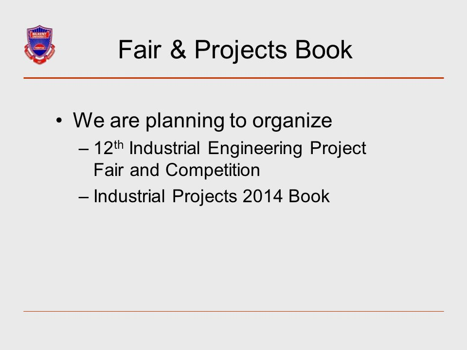 Fair & Projects Book We are planning to organize