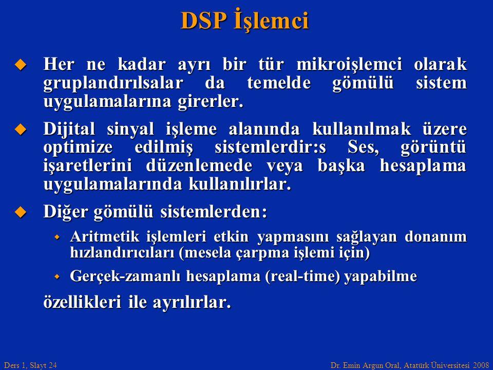 DSP İşlemci Her ne kadar ayrı bir tür mikroişlemci olarak gruplandırılsalar da temelde gömülü sistem uygulamalarına girerler.