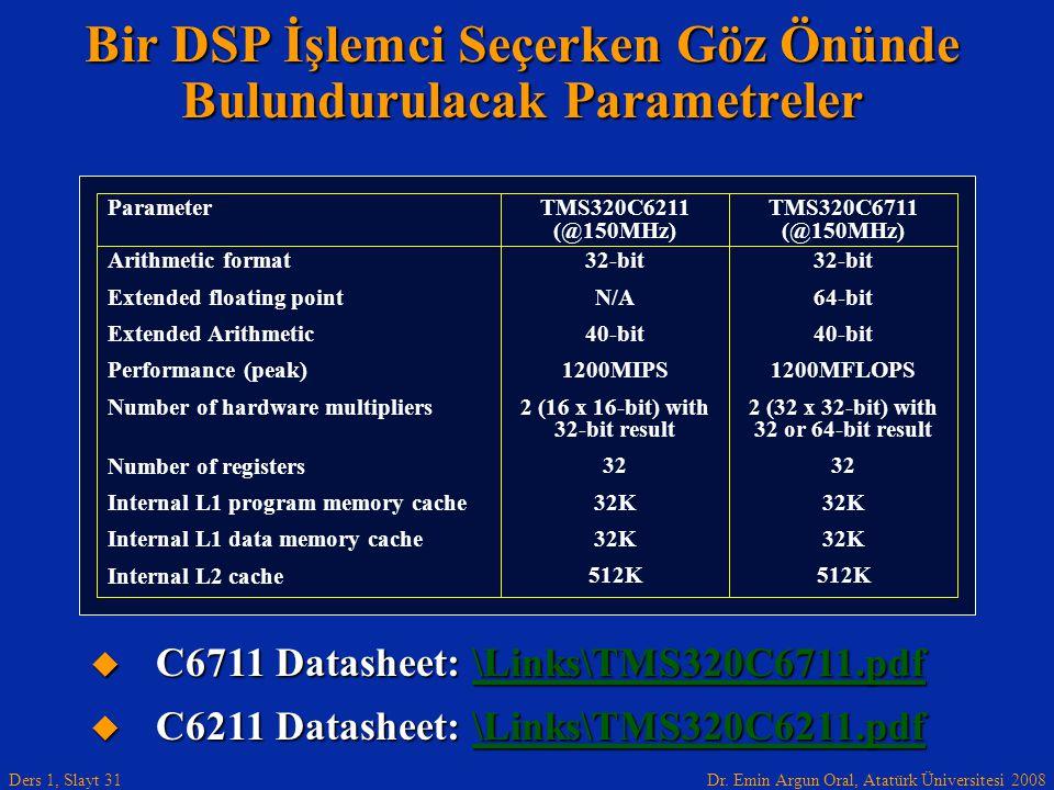 Bir DSP İşlemci Seçerken Göz Önünde Bulundurulacak Parametreler