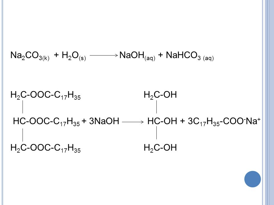 Na2CO3(k) + H2O(s) NaOH(aq) + NaHCO3 (aq) H2C-OOC-C17H35 H2C-OH HC-OOC-C17H35 + 3NaOH HC-OH + 3C17H35-COO-Na+