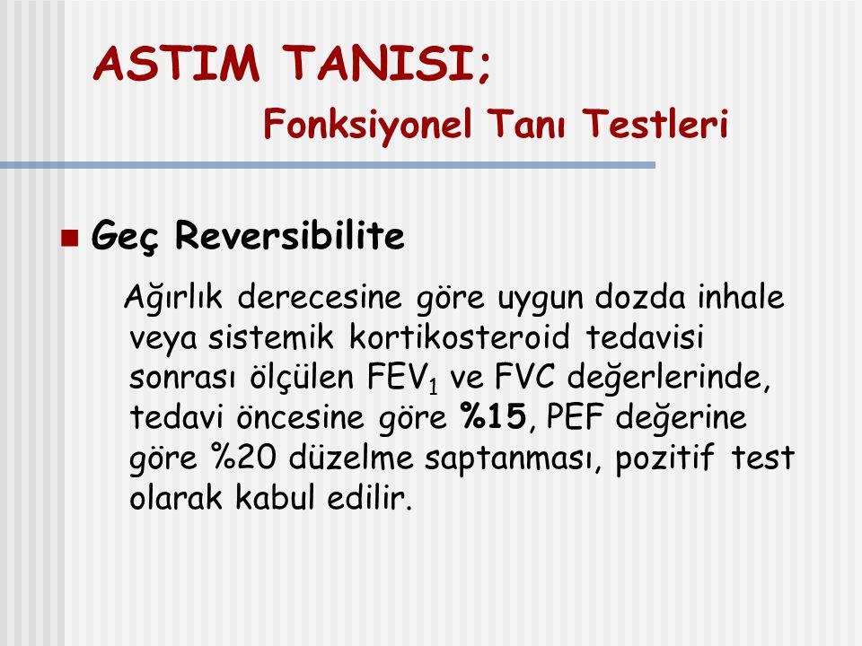 ASTIM TANISI; Fonksiyonel Tanı Testleri