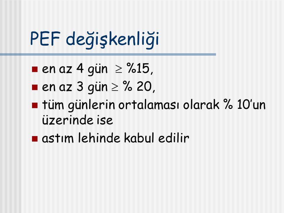 PEF değişkenliği en az 4 gün  %15, en az 3 gün  % 20,