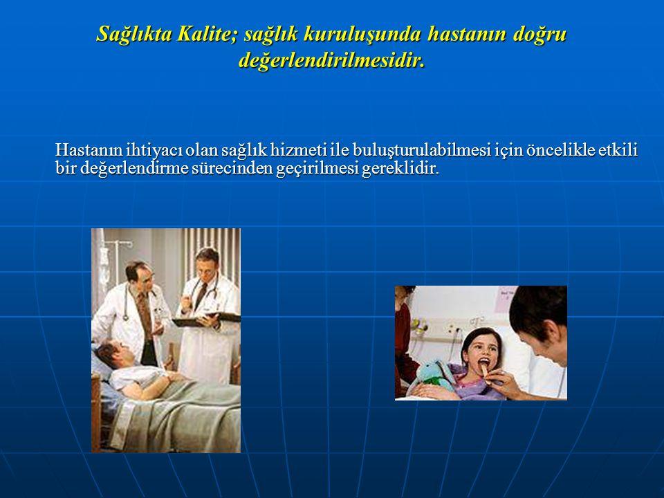 Sağlıkta Kalite; sağlık kuruluşunda hastanın doğru değerlendirilmesidir.