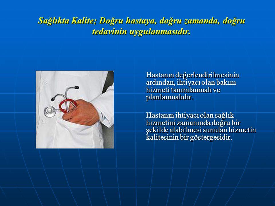 Sağlıkta Kalite; Doğru hastaya, doğru zamanda, doğru tedavinin uygulanmasıdır.