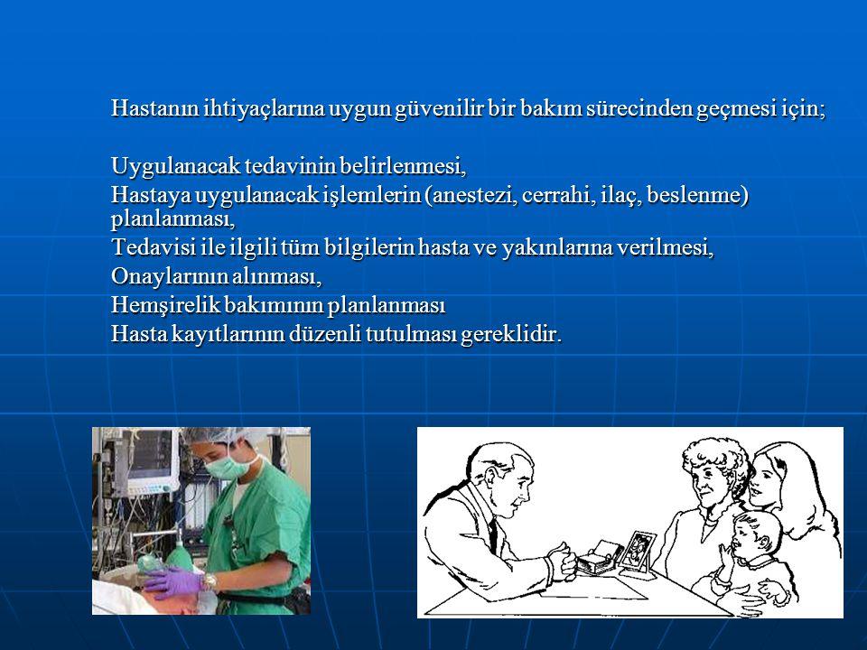 Hastanın ihtiyaçlarına uygun güvenilir bir bakım sürecinden geçmesi için;