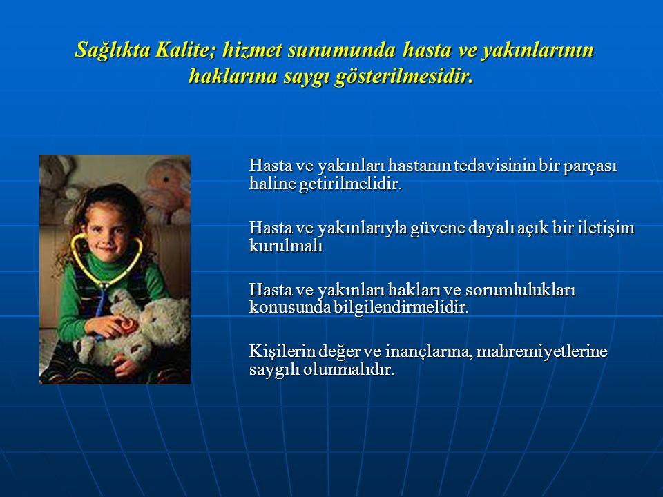 Sağlıkta Kalite; hizmet sunumunda hasta ve yakınlarının haklarına saygı gösterilmesidir.