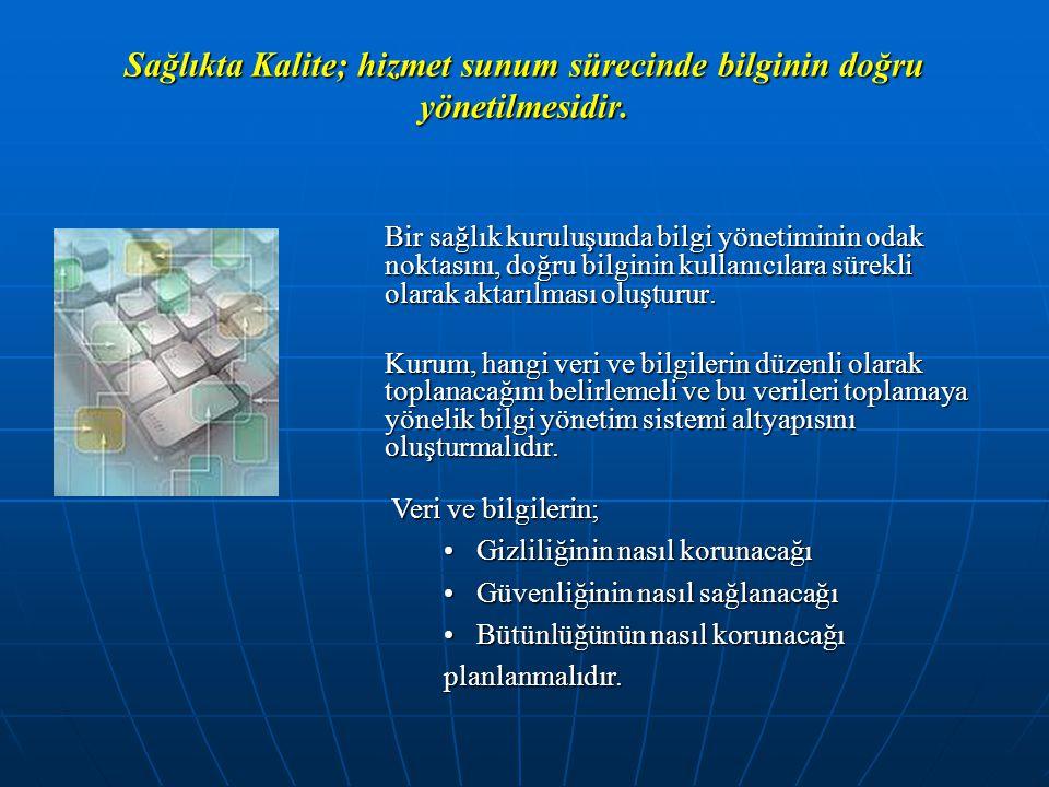 Sağlıkta Kalite; hizmet sunum sürecinde bilginin doğru yönetilmesidir.