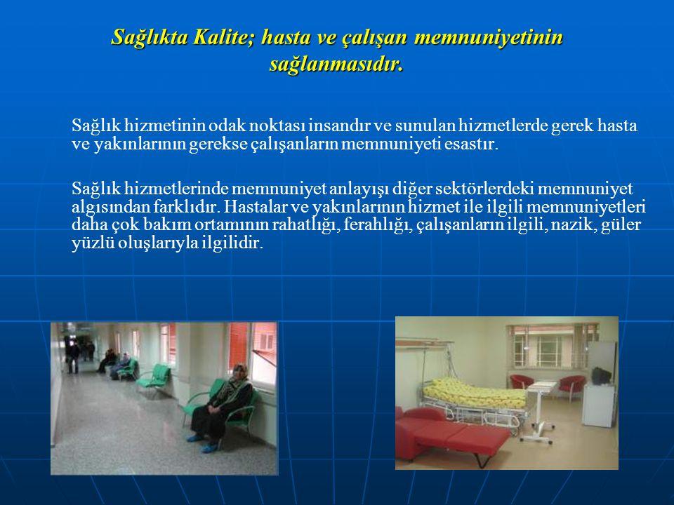 Sağlıkta Kalite; hasta ve çalışan memnuniyetinin sağlanmasıdır.