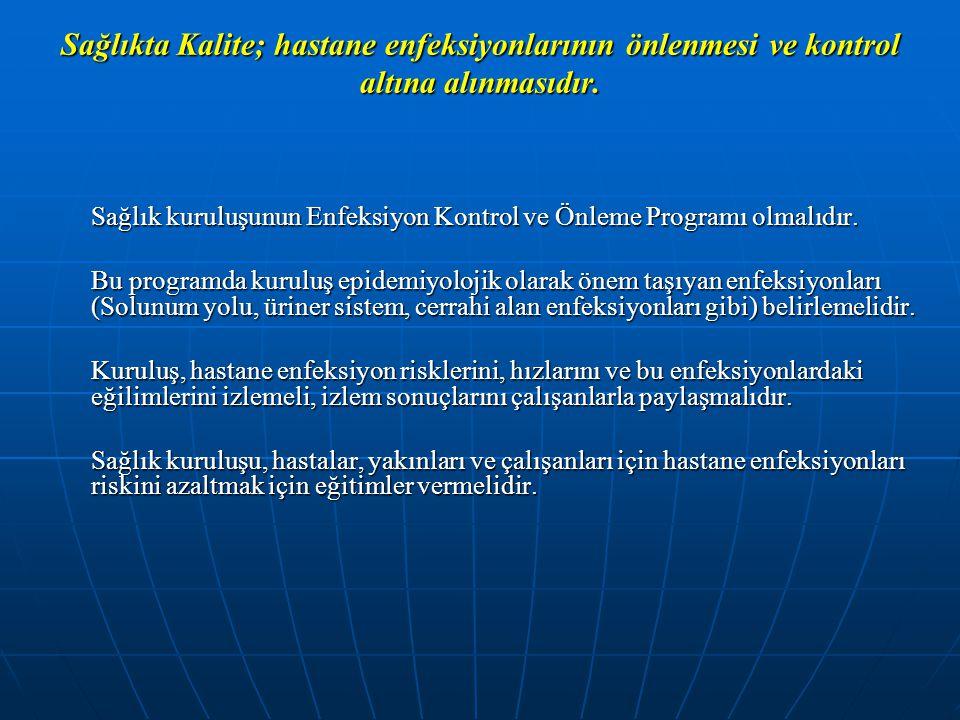Sağlıkta Kalite; hastane enfeksiyonlarının önlenmesi ve kontrol altına alınmasıdır.