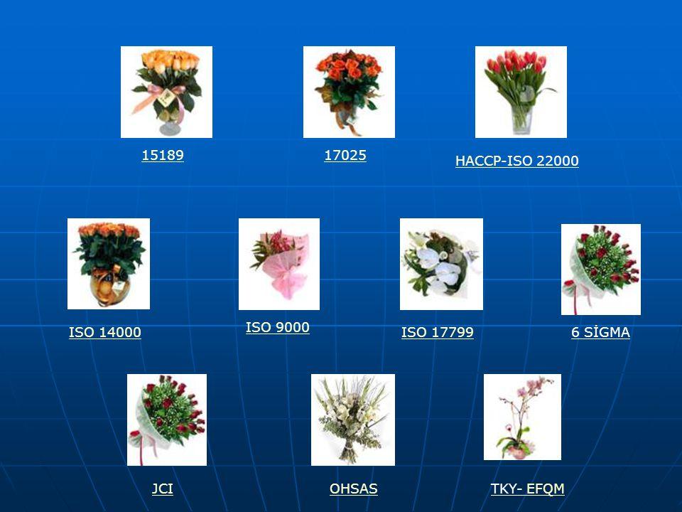 15189 17025 HACCP-ISO 22000 ISO 9000 ISO 14000 ISO 17799 6 SİGMA JCI OHSAS TKY- EFQM